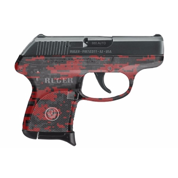 Ruger LCP 380 Auto With Red Digital Camo Conceal Pistol